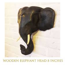 details about elephant head 8 wooden thai wall hanging home decor collectible wood carved