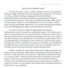 Personal Statement Examples For Resumes Job Personal Statement