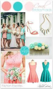 Coral and Teal Bridesmaid Dress Inspiration