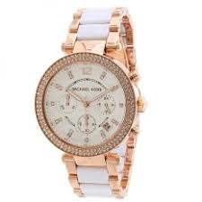 michael kors watches for the best price in michael kors women s mk5774 parker chronograph rose goldtone white resin watch
