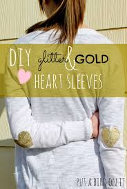 diy glitter gold heart sleeves made with homemade fabric paint and a silhouette studio tutorial