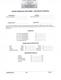 Snow Removal Bid Template Contractor Bid Form Atlas Opencertificates Co
