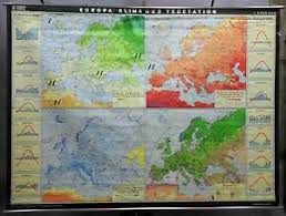 Details About Europe Climate Vegetation Vintage Look Map Mural Decoration School Wall Chart