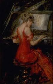 la femme en rouge the woman in red giovanni boldini oil painting reion