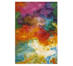 watercolor abstract area rug with bright pinks purples oranges blues and yellows from