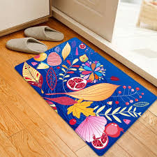 cartoon leaf pattern water absorption area rug colormix w16 inch l24 inch