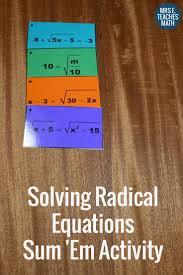 radical equations sum em activity