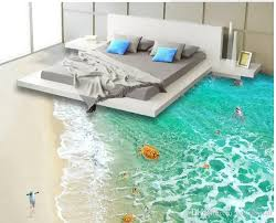 custom vinyl floor 3d flooring custom pvc self adhesive wallpaper clear sea water beach 3d floor