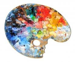 real art pallet. artist palette with different colors isolated over white background real art pallet i