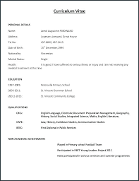 Curriculum Vitae Template New Curriculum Vitae Resume Samples Free Download Personal Sample