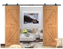 diyhd 8ft top mounted barn door track for double door black rustic sliding bi parting