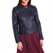 marcs women iman leather jacket navy thumbnail 0