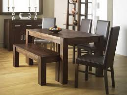 rustic dining room design with walnut wood rectangular dining table brown wooden dining bench