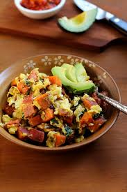 sweet potato bacon and spinach scramble the roasted root