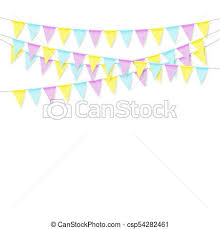 Celebrate Banner Colorful Realistic Soft Colorful Flag Garland With Shadow Celebrate Banner Party Flags Vector Illustration Isolated On White Background
