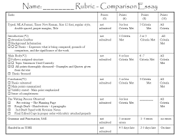Mla 10 Name ______ Rubric Comparison Essay Tasks Points 0 Points 6