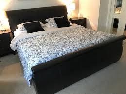 super king size black leather bed frame