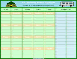 Camping Menu Template Five Day Camping Menu Planner With Shopping List Camping