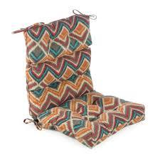 red orange blue fiesta collection outdoor high back patio chair cushion fuzzy chevron