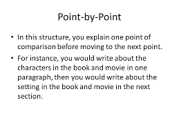 compare contrast essays ppt  for instance you would write about the characters in the book and movie in one paragraph then you would write about the setting in the book and movie in