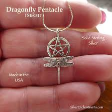 sterling silver dragonfly pentacle necklace
