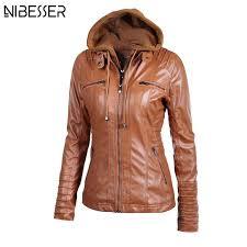 2019 whole 2017 plus size hooded faux leather jacket women autumn winter motorcycle jacket long sleeve hat detachable pu leather slim coat from felix06