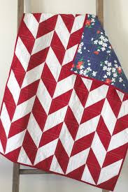 Another herringbone quilt...this one is backed in a lovely vintage, screen   Herringbone QuiltRed White BlueCraft IdeasQuilt ...
