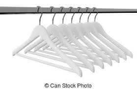 empty closet with hangers. White Clothes Hangers Isolated Empty Closet With