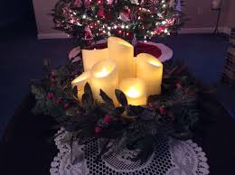 luminara candles with a wreath