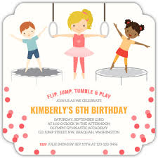 kids birthday party invitations pink gymnastics kids birthday party invitation