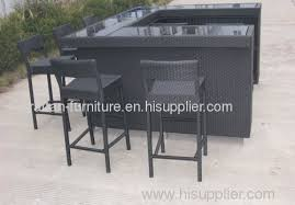 Bar Table Set With Backless Barstools 7 Piece Outdoor Wicker Patio Outdoor Wicker Bar Furniture