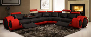 VIG Furniture 4087 Red and Black Leather Sectional Sofa with recliners