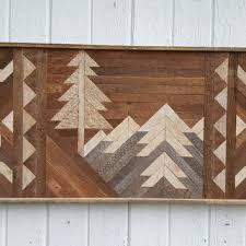reclaimed wood wall art decor mountains twin headboard b on southwestern wood wall art with best reclaimed wood wall art products on wanelo