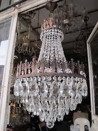 antique vnt french big basket crystal chandelier lamp 1940 s 16in Ø dmtr rare