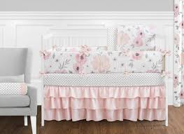 G Blush Pink Grey And White Shabby Chic Watercolor Floral Baby Girl Crib