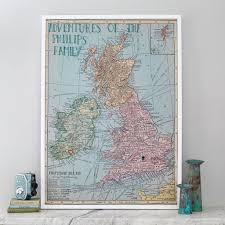 Personalised UK And Ireland Map Notice Board