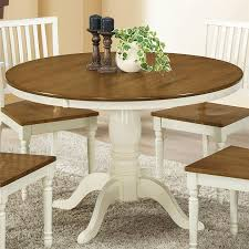 monarch specialties antique white oak round dining table