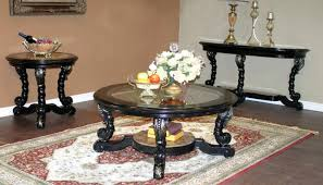 ... Coffee Tables, Cozy Black Round Minimalist Glass And Wood Coffee Table  And End Tables Design ...