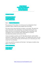 Formal Resignation Letter Example Resignation Letters Download Pdf Doc Format