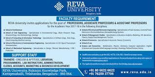Recruitment Of Faculty Positions At Reva University Bangalore Business Analytics Mba In Bangalore