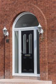 entrance door with side panels and arched head
