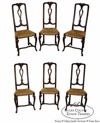 vintage set of 6 italian made french country style rush seat dining chairs frenchcountry