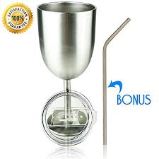 stainless steel double walled wine glass with lid insulated tumbler wine glass 10oz b07263f445