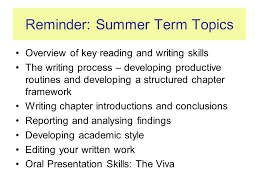 oral presentation skills for phd ppt  reminder summer term topics