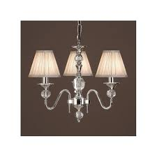 polina 3 light polished nickel chandelier with beige shades