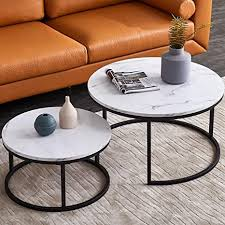 Accent your living room with a coffee, console, sofa or end table. Amazon Com Modern Nesting Coffee Tables Set For Living Room Office Balcony Modern Round Woodaccent Coffee Mdf Faux Marble Tabletop W Black Color Frame Easy Assembly Set Of 2 Kitchen Dining