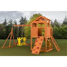 creative cedar designs timber valley playset with red accessories