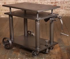 Vintage Metal Kitchen Cart Vintage Industrial Adjustable Metal Die Lift Cart Table Metals