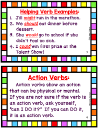 Helping Action And Linking Verbs Task Cards And Anchor Charts