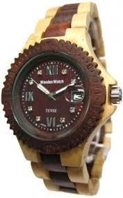 wood watches tense wood mens sport sandalwood wood watch two tone bracelet dark dial